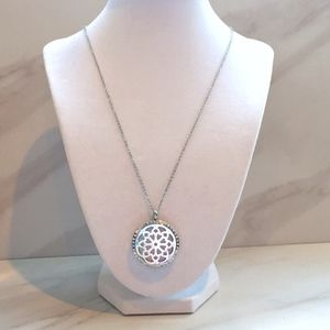 Flower Aromatherapy Pendant Silver Necklace